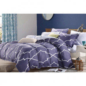 Oboustranné postené povlečení fialové barvy s moderním geometrickým vzorem