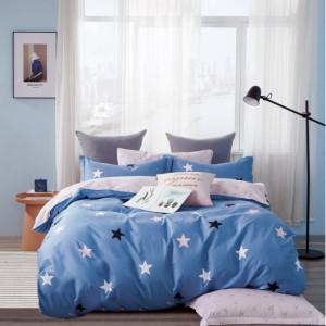 Kvalitní oboustranné ložní povlečení v modré a růžové barvě s hvězdičkami