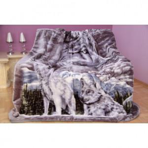 Měkká luxusní deka z akrylu šedá s vlky