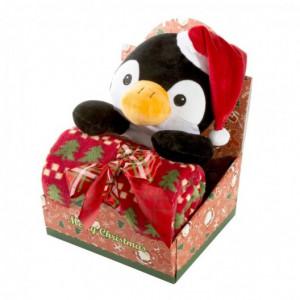 Krásná dětská vánoční deka s plyšovou hračkou