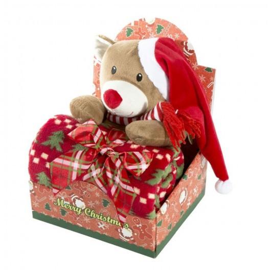 Elegantní dárkové balení pro děťátko deka a plyšová hračka