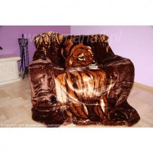 Teplá deka s motivem tygra hnědé barvy