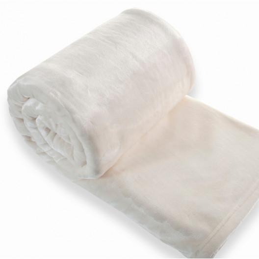 Plyšová deka krémové barvy