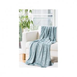 Jemná dekorační deka přehoz bleděmodré barvy