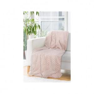 Kvalitní hrubá deka přehoz v pudrově růžové barvě