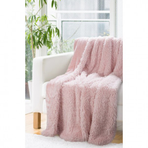 Dekorativní deka přehoz v pudrově růžové barvě