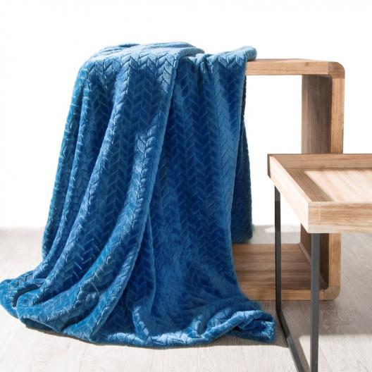 Jemná dekorační deka modré barvy