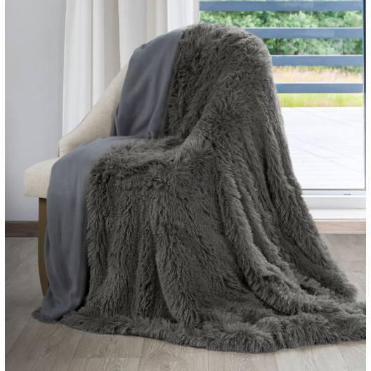 Tmavošedá chlupatá deka