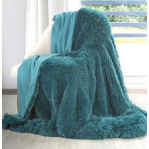 Tmavotyrkysová chlupatá deka