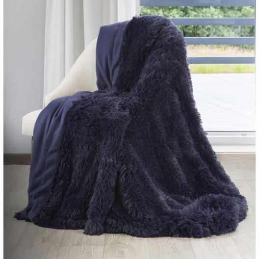 Tmavomodrá chlupatá deka