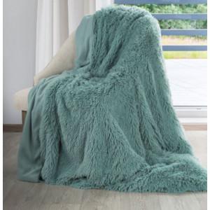 Tyrkysová chlupatá deka