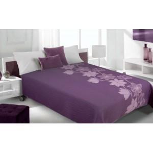 Moderní a luxusní oboustranný přehoz na postel s fialovými květy