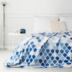 Moderní deka v krásných modrých barvách