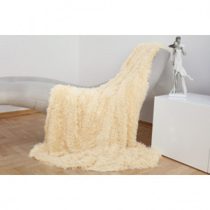 Jemná chlupatá deka krémové barvy