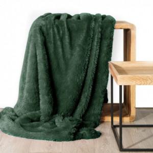 Jednobarevná chlupatá deka zelené barvy