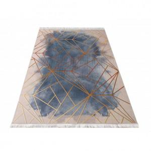Moderní vzorovaný koberec v pudrově růžové kombinaci