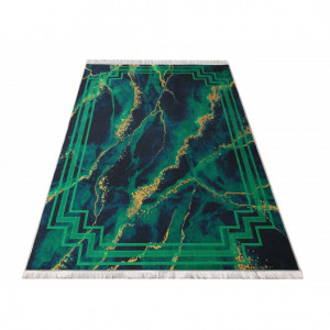 Protiskluzový koberec s abstraktním vzorem v zelené barvě