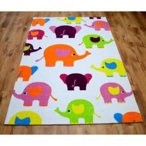 Dětský bílý koberec se slůně 165 x 235 cm