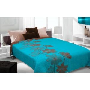 Moderní a luxusní oboustranný přehoz na postel modrý s hnědými květy