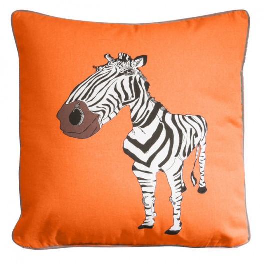 Oranžová dětská povlak na polštář se vzorem zebry
