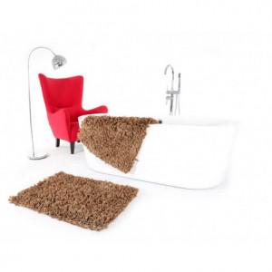 Koupelnový kobereček hnědé barvy 60 x 90 cm