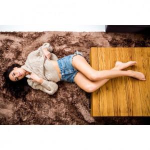 Hebký tmavě hnědý plyšový koberec 140 x 200 cm