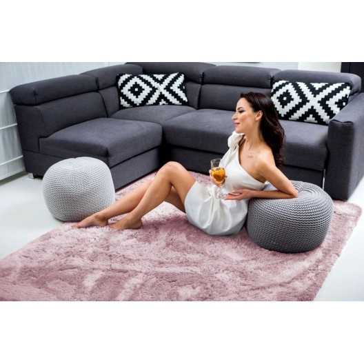Růžový kusový koberec plyšový 120 x 170 cm