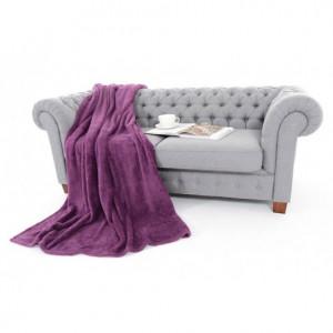 Dekorativní deky a přikrývky fialové barvy 200 x 220 cm