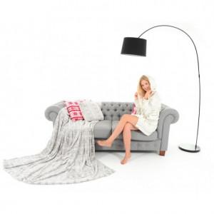 Bílošedá deka na gauč se sněhovými vločkami 200 x 220 cm
