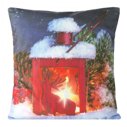 Vánoční povlak na polštář se svíčkou v kahanu