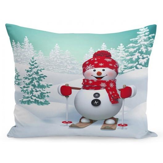 Vánoční povlak na polštář sněhulák na lyžích