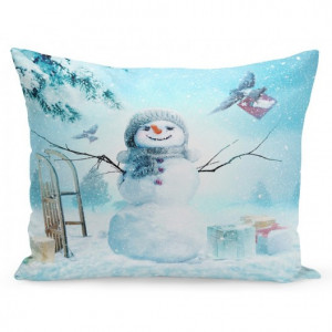 Vánoční povlak na polštář sněhulák a dárky
