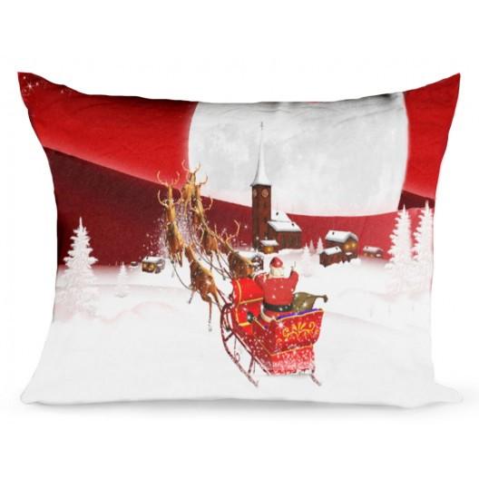 Vánoční povlak na polštář Santa na saních