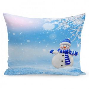 Vánoční povlak na polštář sněhulák a zasněžená krajina