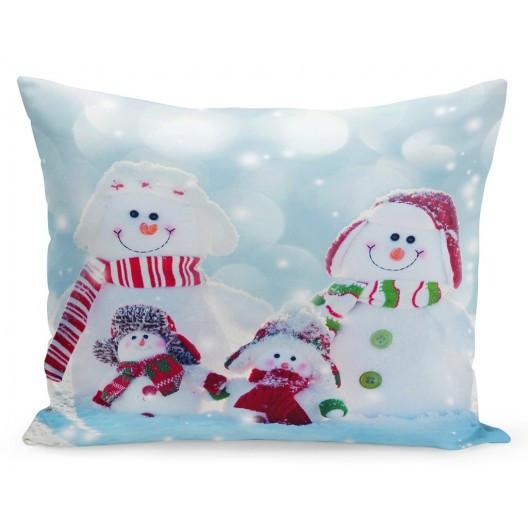 Vánoční povlak na polštář rodinka sněhuláky