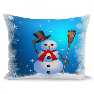 Vánoční povlak na polštář sněhulák s kloboukem