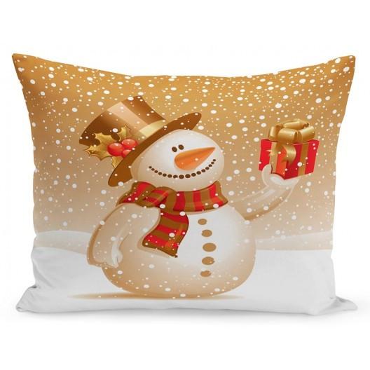 Vánoční povlak na polštář sněhulák s dárkem