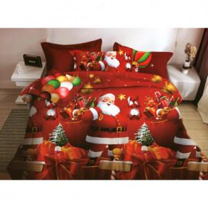 Červené ložní povlečení na vánoce s potiskem mikuláše