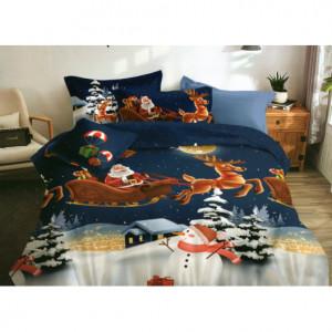 Modré vánoční ložní povlečení s motivem Santa Clause