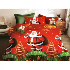 Povlečení na postel s vánočním motivem v červené barvě