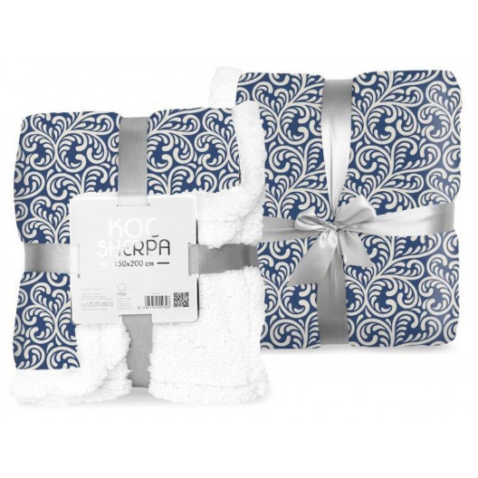 Dekorativní deka s beránkem v modré barvě s ornamenty