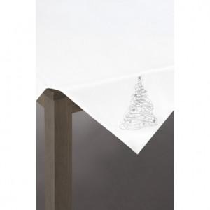 Elegantní vánoční ubrus se stříbrným stromečkem