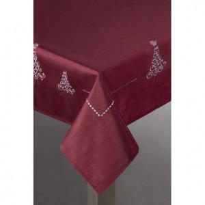 Vánoční ubrus červené barvy s motivem vánočních stromků