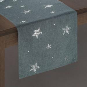 Vánoční prostírání štola v šedé barvě s hvězdičkami
