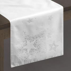 Vánoční ubrus štola v bílo stříbrné kombinaci