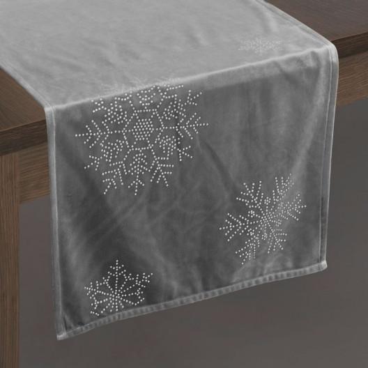 Vánoční sametová štola na stůl šedé barvy