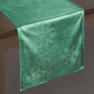 Vánoční sametová štola na stůl zelené barvy