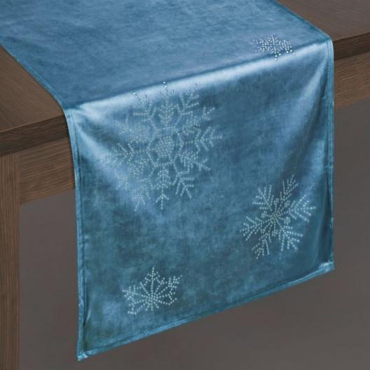 Vánoční sametová štola na stůl modré barvy
