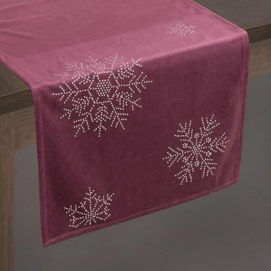 Vánoční sametová štola na stůl vínové barvy