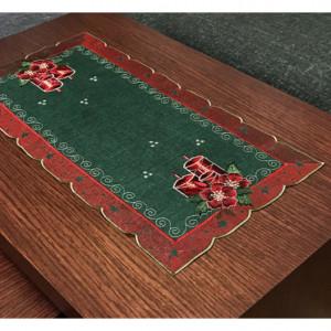 Vánoční prostírání se svíčkou červeno zelené